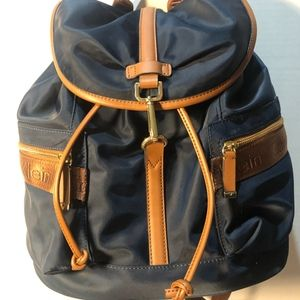 Fall Nylon Backpack ; Navy,Brown,Gold